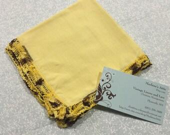 Vintage Yellow Handkerchief Hanky with a crochet border by MarlenesAttic