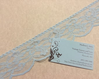 1 yard of 2 1/2 inch Light Bue chantilly lace trim for bridal, wedding, baby, hair accessories, lingerie by MarlenesAttic - Item 3AA