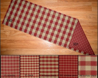 Burgundy Red and TAN Reversible Table Runner Placemats Plaid Primitive Country Rustic 24, 30, 36, 42, 48, 54, 60, 66, 72 inch