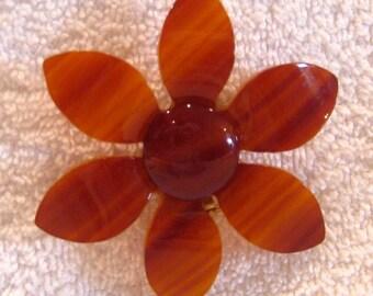 Flower Power Pin Bakelite-like