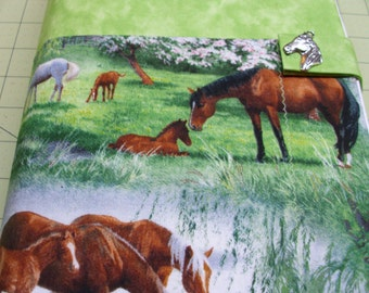 Horses in spring meadow Bible cover, horse lover gift, foal colt filly, green grass, summer pasture, buckskin, quarter horse, case purse