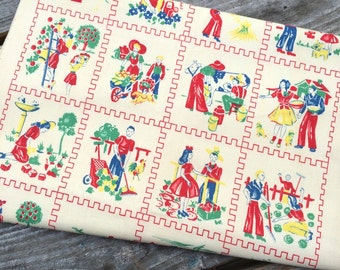 Unusual American 1940s furnishing fabric - Country Chores