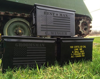 Wedding Props or Groomsmen Gift Mens Personalized Ammo Box Personalized Wedding Custom Ammo Can