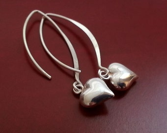 Heart Earrings. Sterling Silver Earrings. Love Earrings. Long Earrings. Valentines Day Gift. Heart Charms, Puffed Heart Pendants
