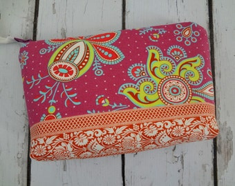 Sale Extra large Zipper bag, cosmetic bag, Amy Butler fabric, ready to ship