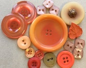 orange and beige blush vintage eco friendly buttons//various sizes--mixed lot of 16