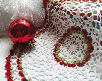 "Holiday Doily - Red Lime Green White Lace Decor - Large Star and Cluster, 10"", Egyptian Cotton - Christmas Centerpiece Gift"