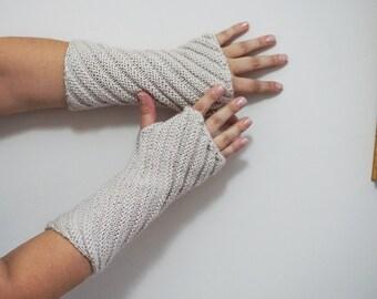 Ecru beige Fingerless Gloves mittens, arm warmers, accessories, wrist warmers, knit fingerless gloves,wool cable knit,hand warmer