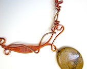 Copper Wire Wrapped Necklace, Jasper Stone Pendant, Jasper Necklace, Yellow Jewelry, Red Necklace, Wire Wrapped Necklace