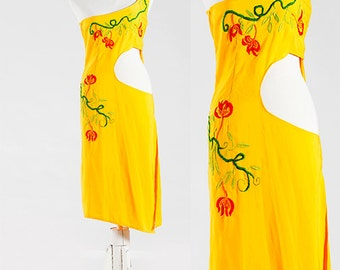 Extravagant Dress, Vintage 70s Dress, Midi Slinky Dress, Art Nouveau Style, in Glorious Yellow, Elegant Dress, Sophisticated Dress, Boho
