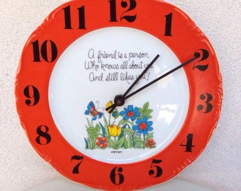 Vintage Welby kitsch ceramic plate Clock quote FRIENDS