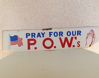 Vintage 1970s bumper sticker Pray for our POW with hands and USA flag