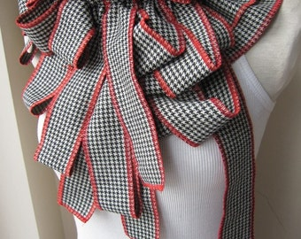 Bow scarves-Haute couture-stable bows fringe button scarf-houndstooth-gingham scarf, women's scarves - woman fashion Turkey-2016 trends