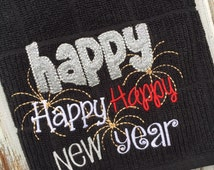 Embroidered kitchen towel, New Years kitchen towel, tea towel, Happy New Year towel, custom towel, dish towel