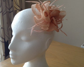 Nude Pink Sinamay and Coq Feather Fascinator or Corsage with pearl sprays Races, Weddings, Prom, Cruise