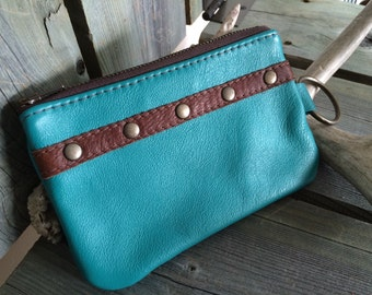 "Turquoise Leather ""Finglet"" Purse & Cognac Leather Design- Soft Leather Purse - One Of A Kind - Handmade - Gifts for Her"