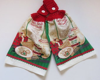 Christmas Towels, Hanging Hand Towels, Crochet Top Towels, Towel Toppers