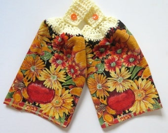 Colorful Sunflowers Crochet Top Kitchen Hand Towel Set of 2