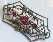 Antique Brooch or Sash Pin, Czech Glass, Brass Openwork Czech Brooch