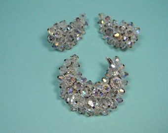 Clear Crystal Bead Jewelry Set, Brooch and Clip On Earrings, Modern 80s
