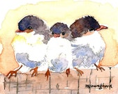 ACEO Limited Edition 3/25- Three spring chicks, Bird art print for spring home decoration, Wall deco idea, Gift idea for bird lovers