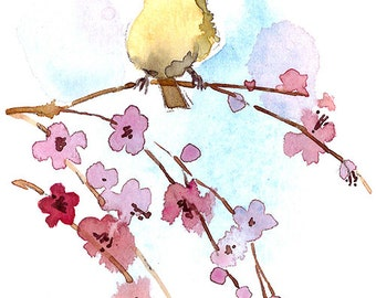 ACEO Limited Edition 1/25, Bird on a weeping cherry branch, Gift idea for bird lovers, Art print