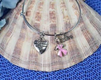 Breast Cancer Awareness Bracelet...Together We Can Make a Difference....Expandable Silver Plated Bangle Bracelet