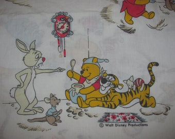Vintage Winnie the Pooh Twin Flat Sheet/Material - Pooh, Kanga, Roo, Tigger, Piglet, etc. Retro Fabric - Bedtime Theme, Reading Stories
