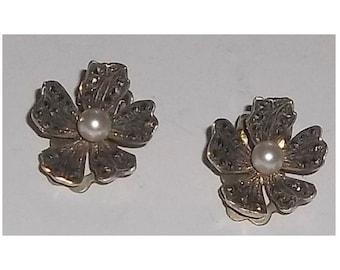 Sterling Earrings, Flowers Pearls Marcasites, Made in Germany, ca1930 SALE