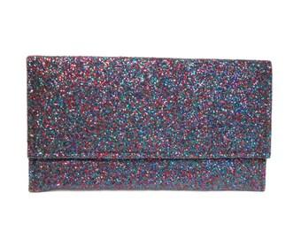 vintage 1960s glitter clutch / red green blue / evening bag / handbag / NYE / women's vintage purse