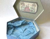 Hexagonal Box Suitcase Hat Collar Scarf Blue Grey Vintage Metal Clasp Handle 1940s Art Nouveau Fashion Doll Container Wedding Decor Storage