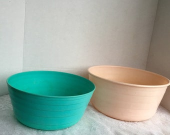Extra Large Vintage Plastic Serving Bowls in Almond Tan and Aqua Blue