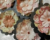 SALE PAPER FLOWERS set/3 Forest Pathways Soft Greens Rust Brown Black Copper
