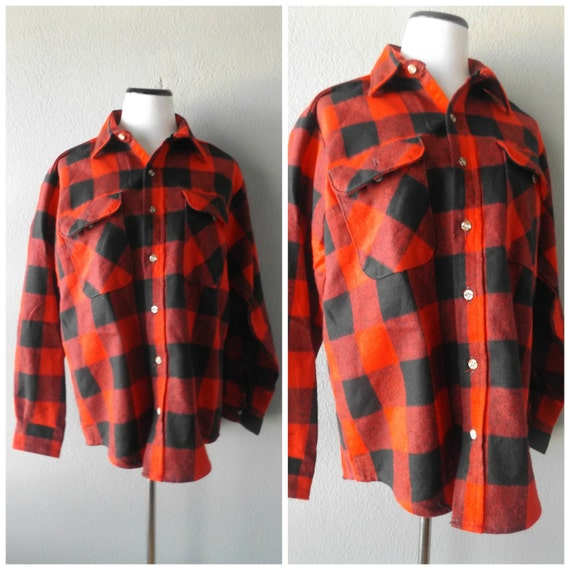 Red Black Flannel Shirt Buffalo Plaid Mens Vintage 90s Grunge