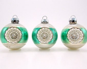Green 1950s Shiny Brite Christmas Ornaments Double Indented Vintage Glass Holiday Decorations