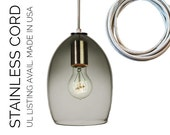 Hand Blown Glass Pendant Light- USA MADE- Smoke & Stainless Cord
