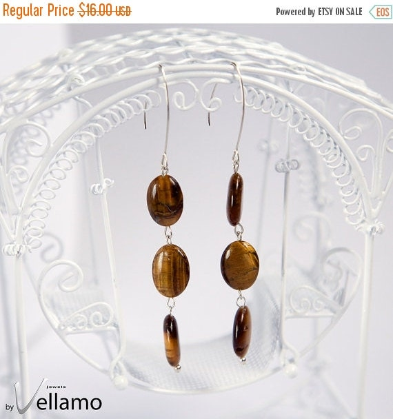 SALE Earrings with gemstones, brown flashy tiger's eye and fuchsia crazy lace agate gemstones, sterling silver, ONE pair