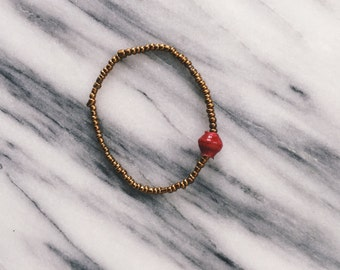 Red Single Bead Bracelet