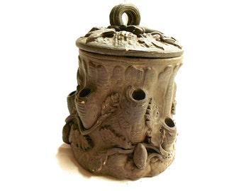 French Antique Stoneware Tobacco Jar / Humidor (C112)