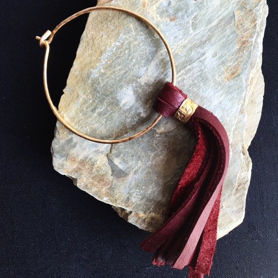 Bohemian Hammered Bronze Bangle with long leather tassel