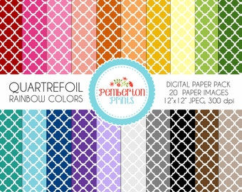 50% OFF - Quartrefoil Digital Paper Pack, Commercial use, Scrapbook Papers, Background, Rainbow Colors and White