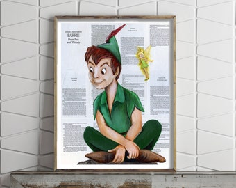 Paper Print of Peter Pan and Tinkerbell