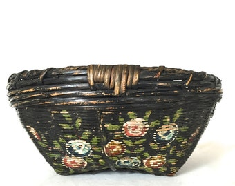 Antique hand painted  basket