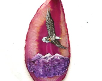 Hand Painted Brazilian Agate Magnet Mountain Eagle