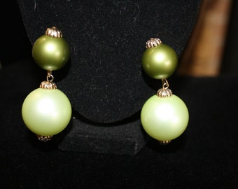 Large Green Two Tone Vintage Dangle Earrings