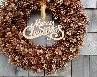 Gold Christmas Pinecone Wreath- customize your color