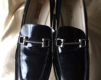 Preppy Slip-on Loafer Shoe / Classic Black Patent Leather Loafer / Made in Italy for Talbots Loafer Shoe
