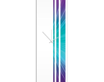 Large Modern Clock 'Nebula Triple Stripe Clock' by Adam Schwoeppe - Wall Decor Minimalist Accent Piece on Acrylic