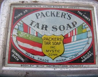 Vintage Packer's Tar Soap Tin