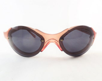 Steampunk Sunglasses, Vintage Womens Sunglasses, Amber Bug Eye Sunglasses Frames, Oval Glasses